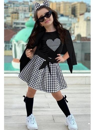 Riccotarz Kız Çocuk Blazer Ceketli Siyah Kazayağı Etekli Takım Siyah